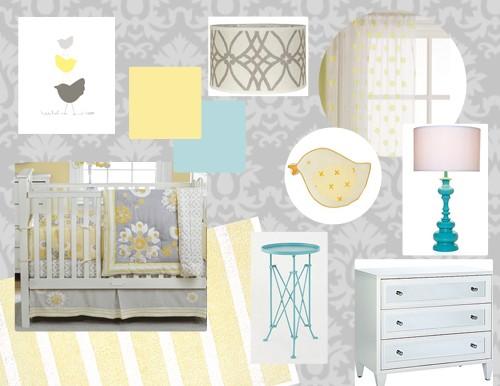 Grey And Yellow Kids Baby Rooms