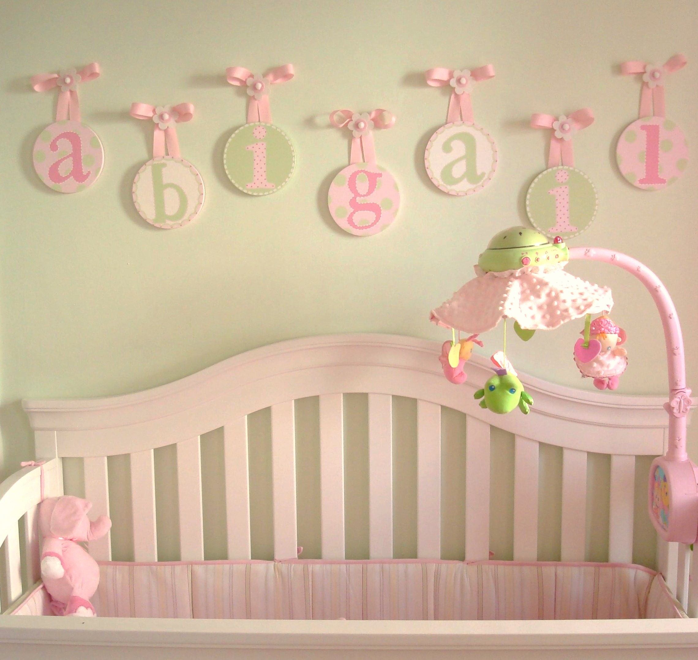 Hanging letters for Baby girl nursery mural