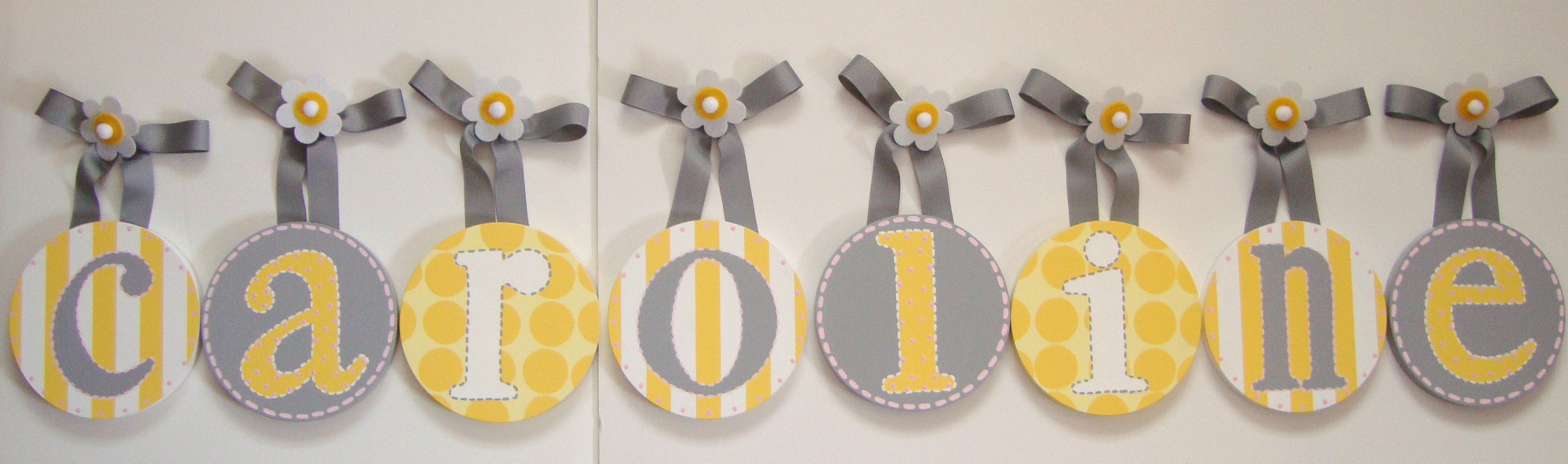 Grey and Yellow Designer Nursery Hanging Wall Letters |